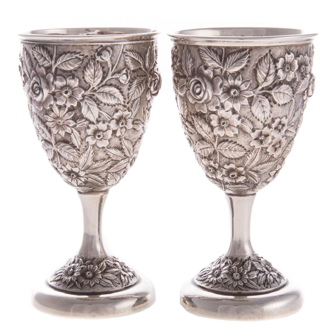 """Pair Schofield """"Baltimore Rose"""" sterling goblets - 2"""