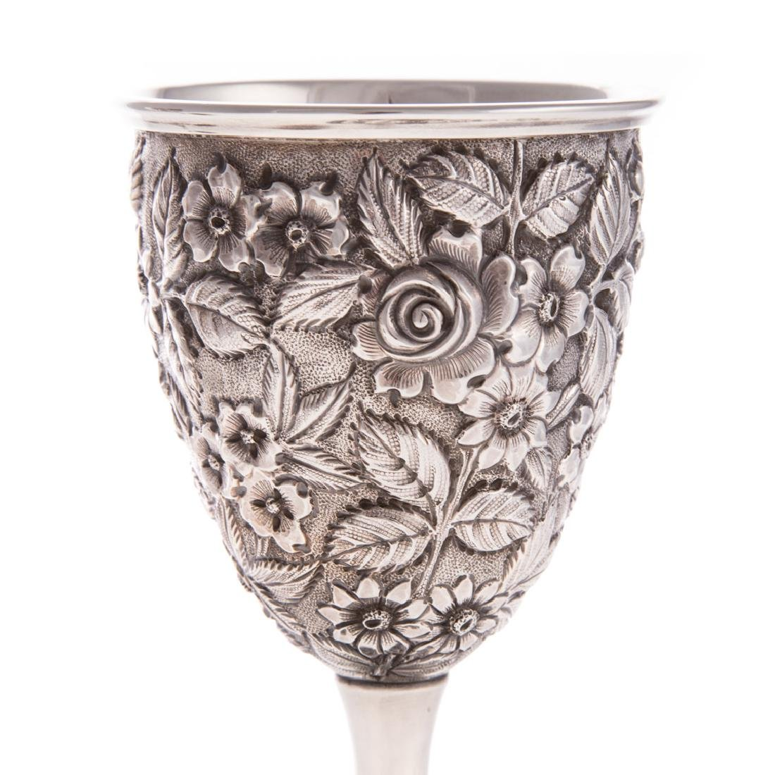 "Pair Schofield ""Baltimore Rose"" sterling goblets - 5"