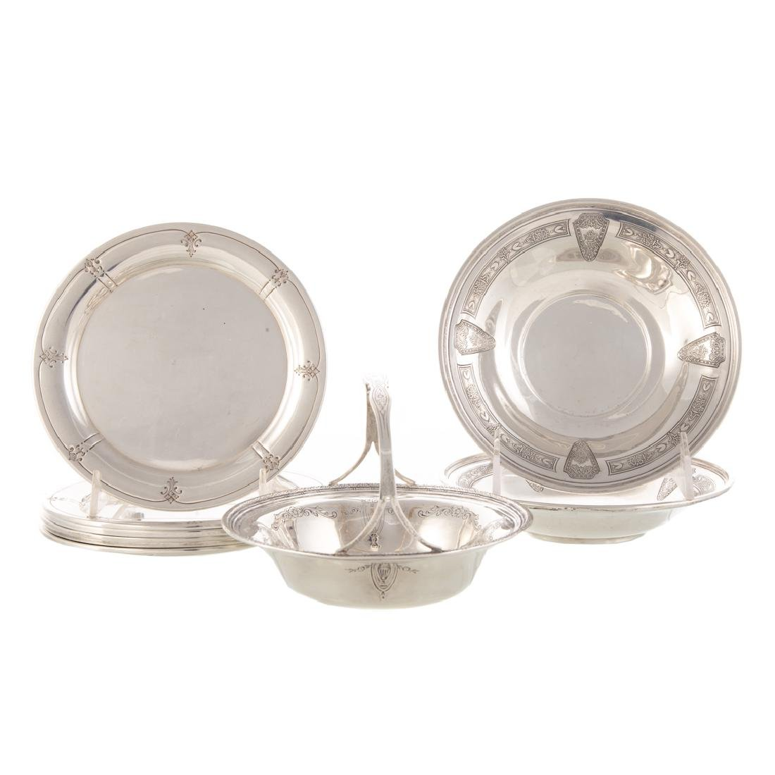 A collection of sterling silver tableware