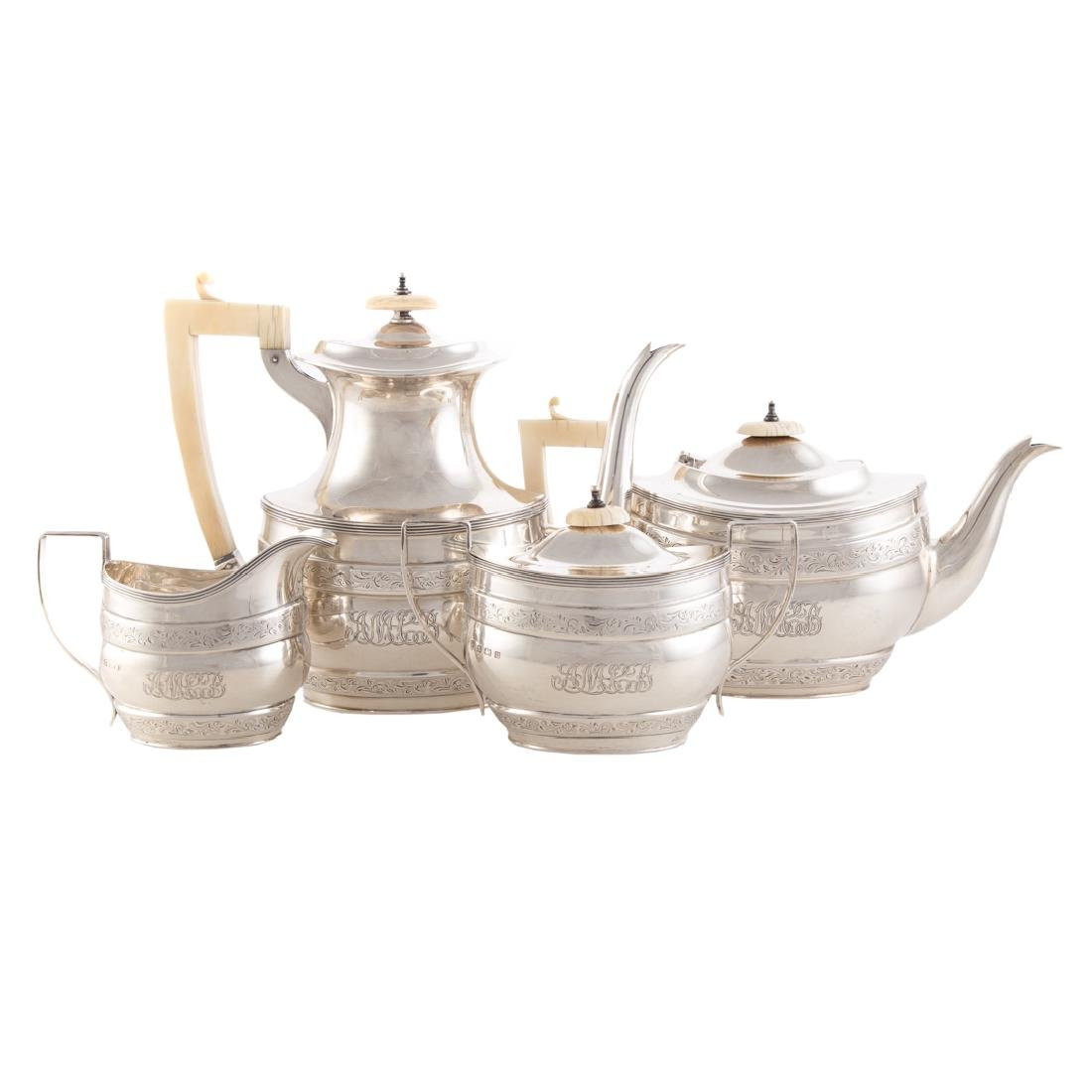 George V sterling 4-pc coffee & tea service