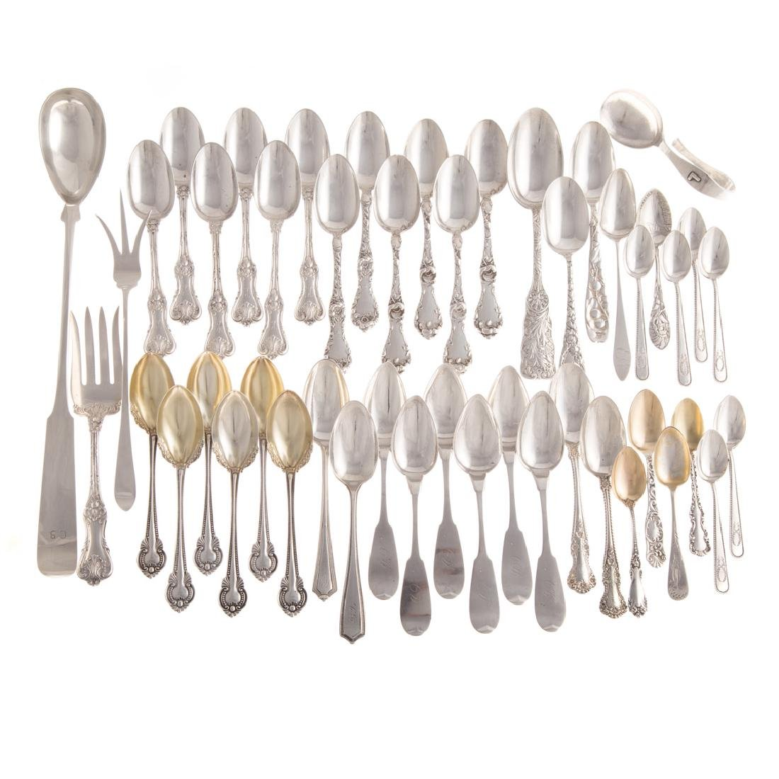 Collection of sterling & coin silver flatware