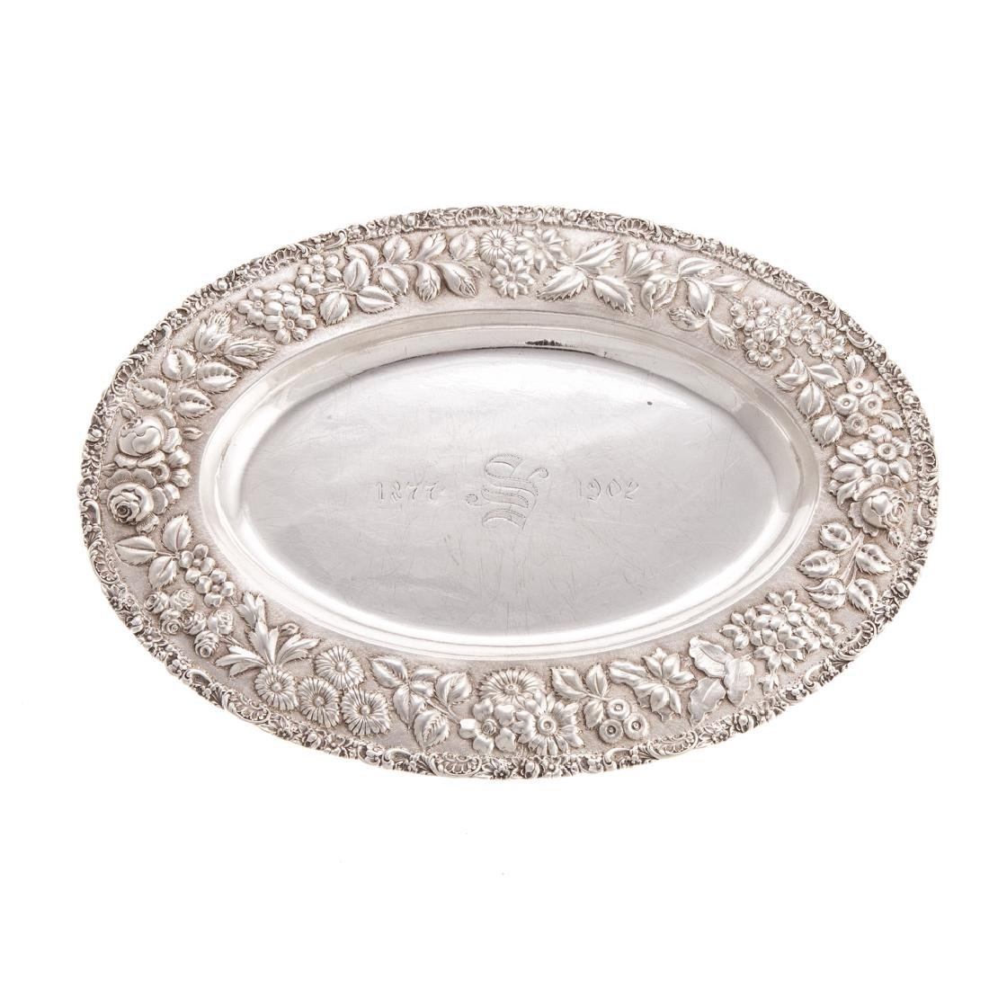Baltimore Silver Co. repousse sterling oval tray