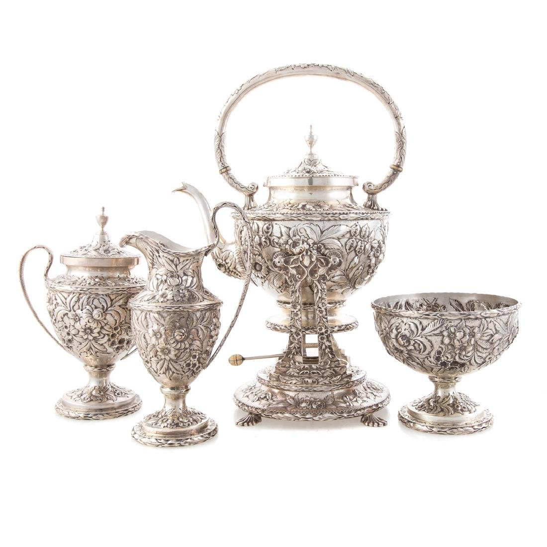 Kirk repousse sterling silver tea service
