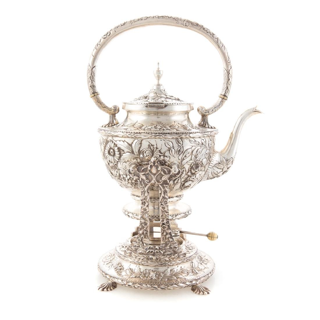Kirk repousse sterling silver tea service - 2