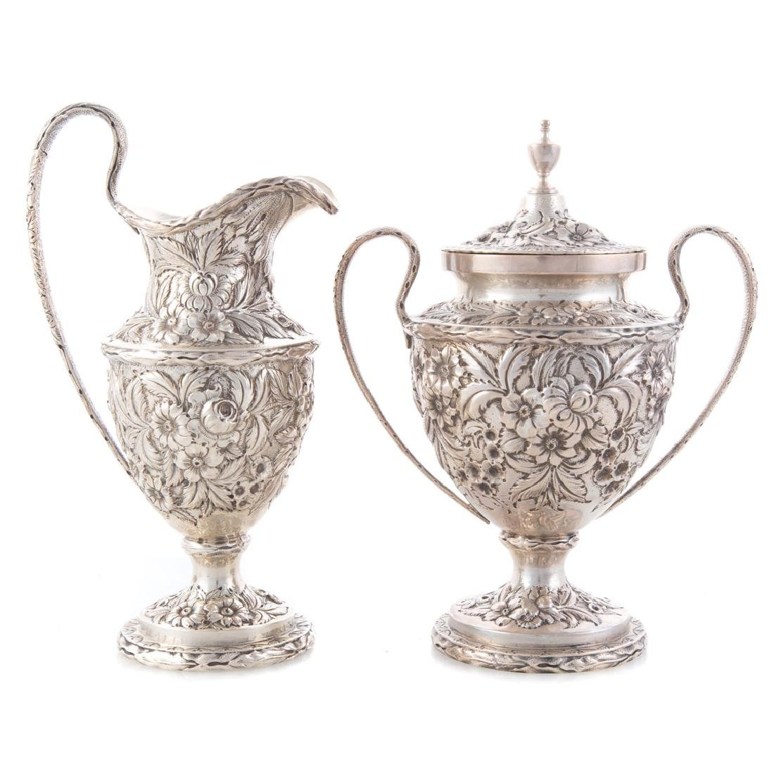 Kirk repousse sterling silver tea service - 3