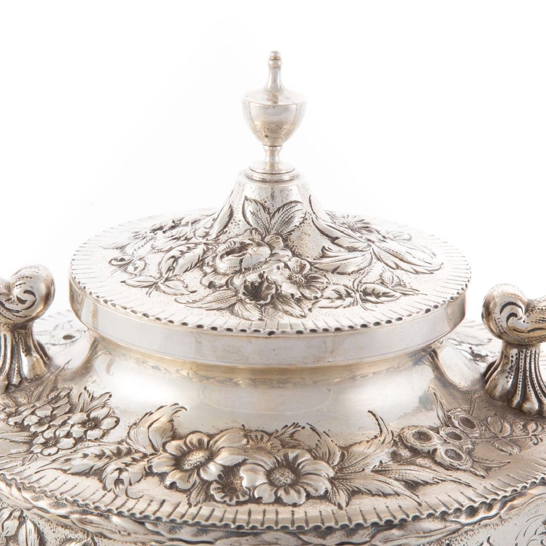Kirk repousse sterling silver tea service - 6