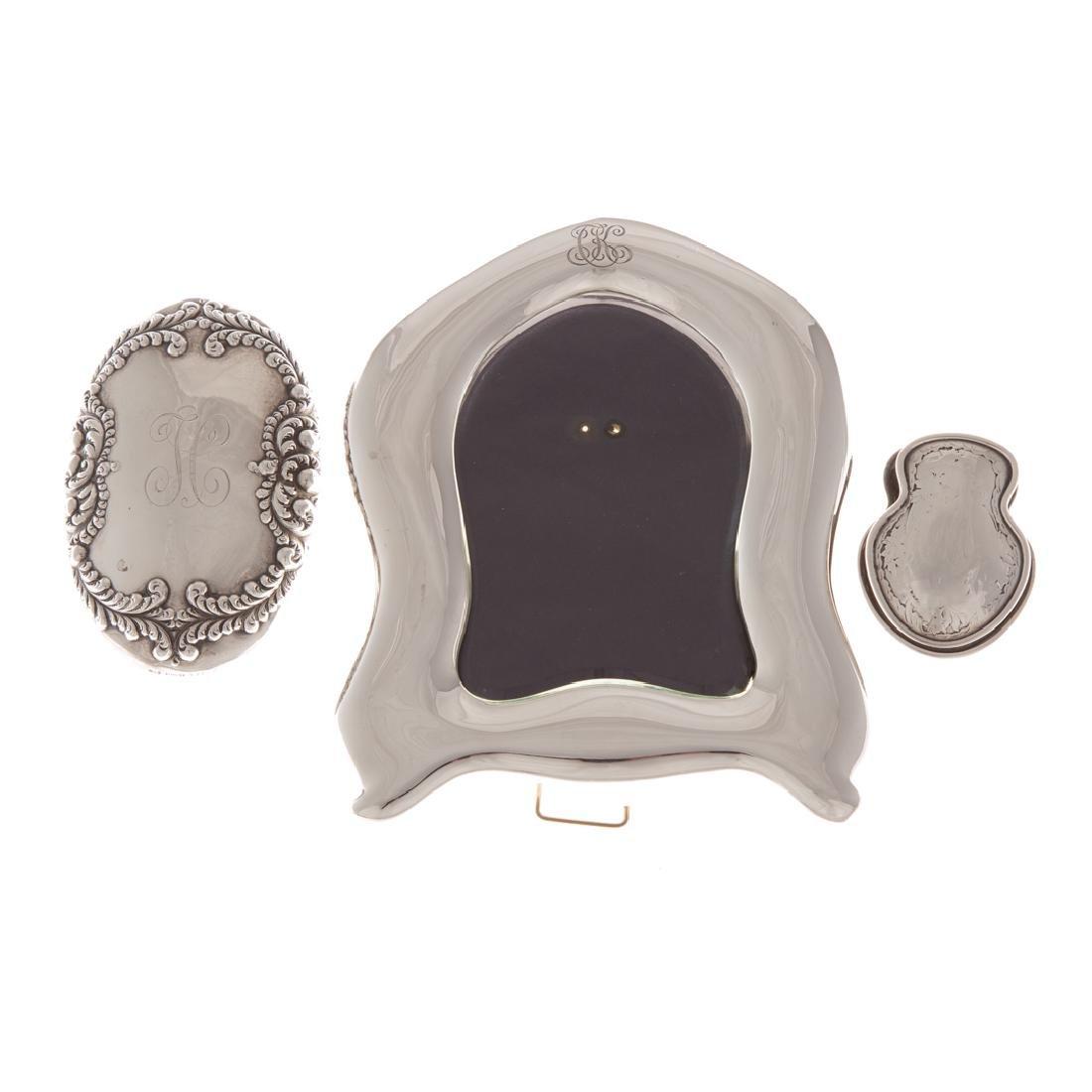 A Trio of sterling silver desk items
