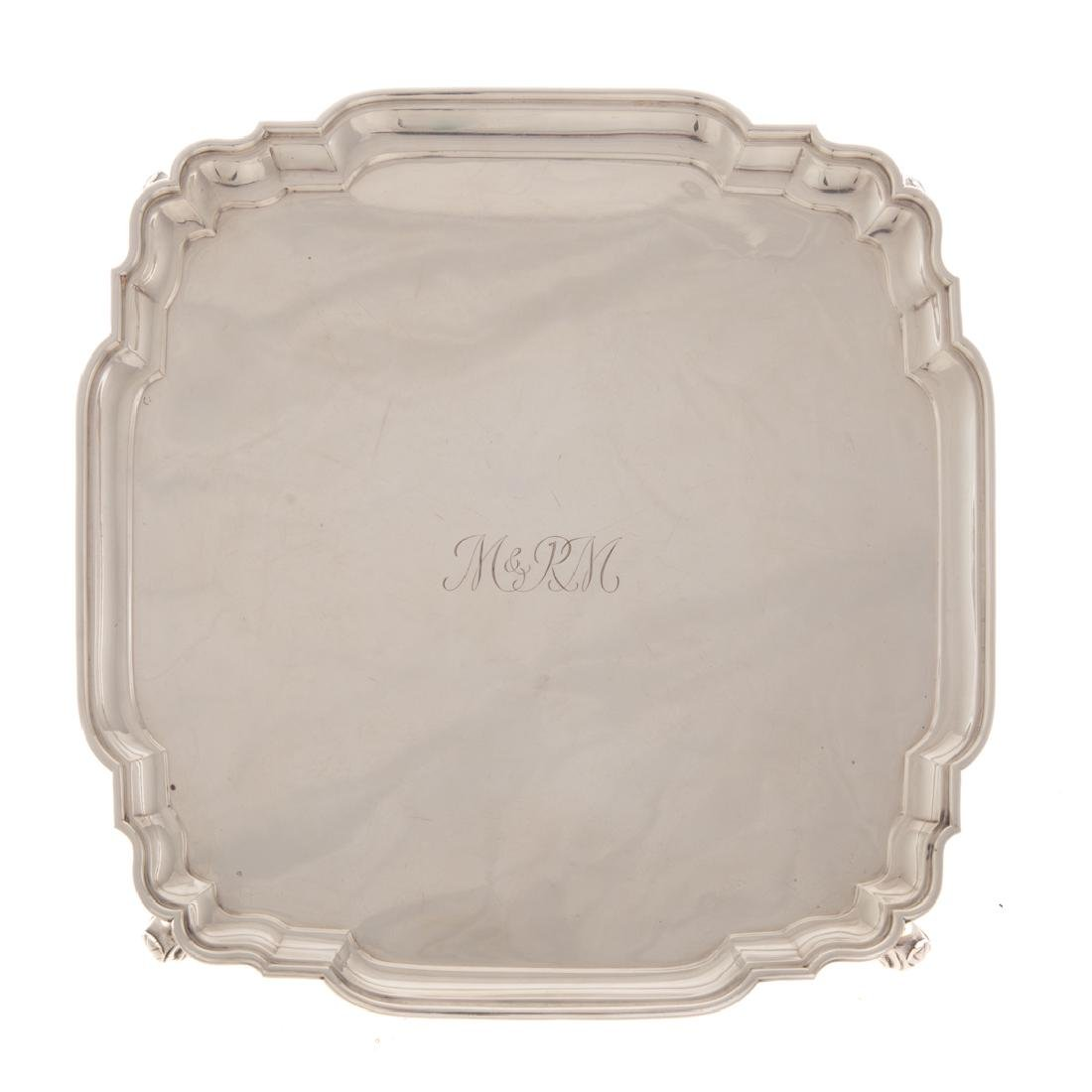 George V silver footed salver