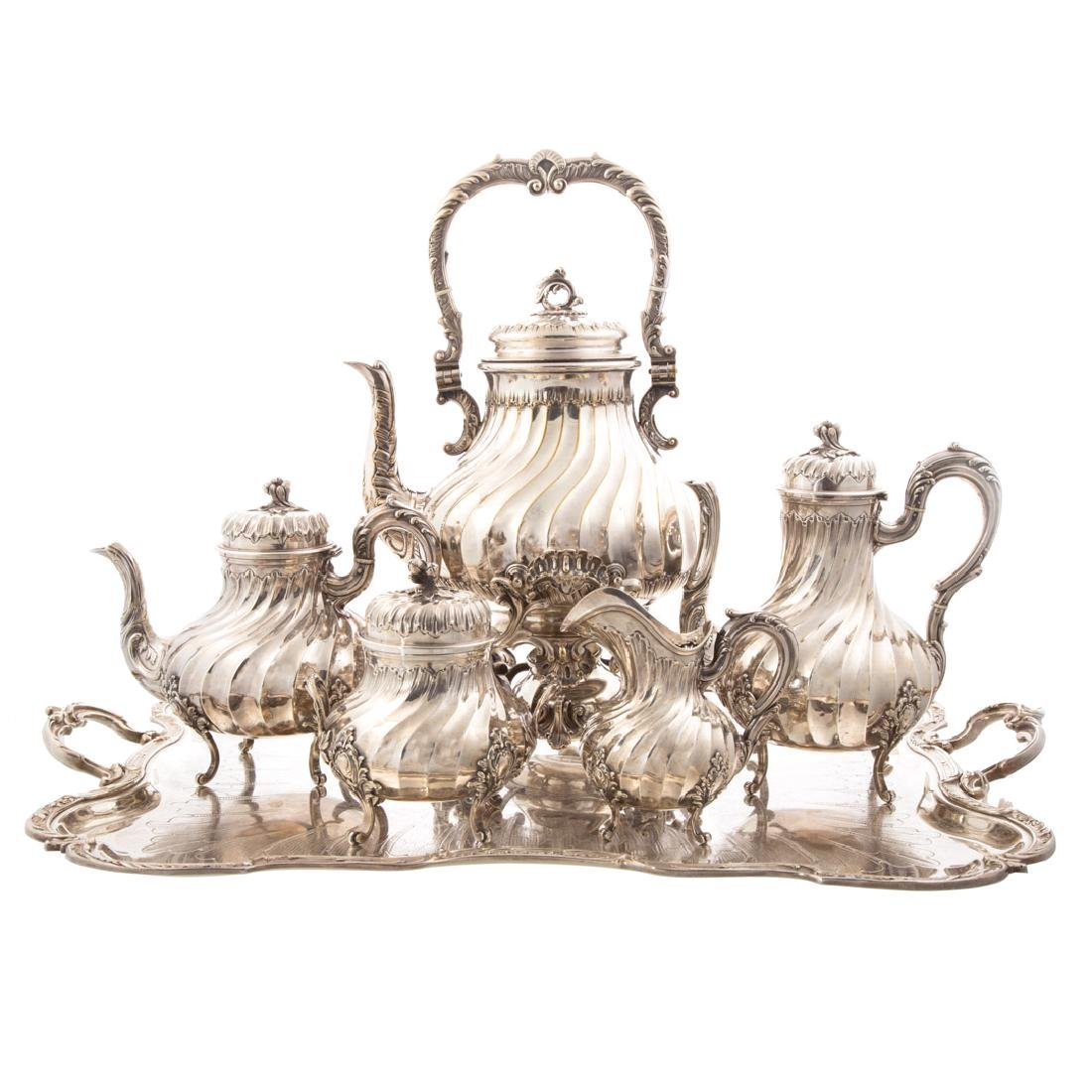 French silver coffee and tea service w/plated tray