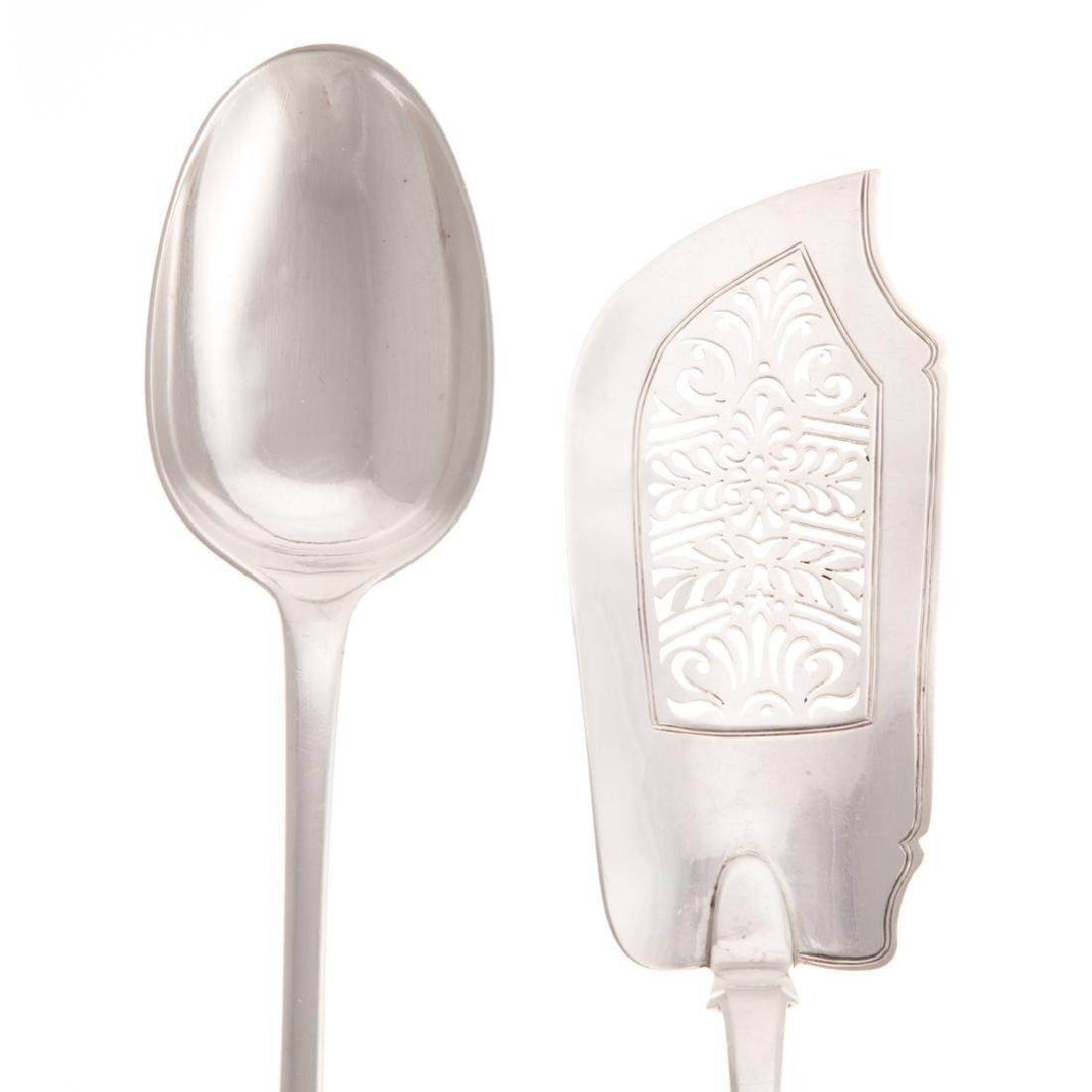 Continental silver fish slice and stuffing spoon - 3