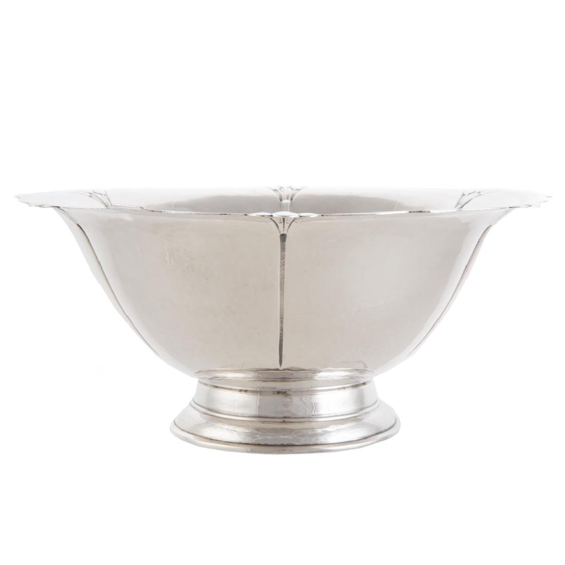 Georg Jensen style hammered sterling center bowl