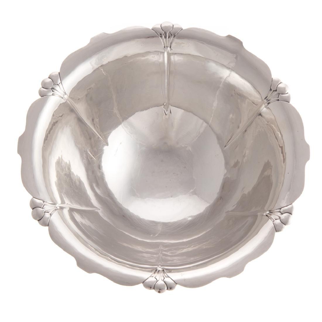 Georg Jensen style hammered sterling center bowl - 2