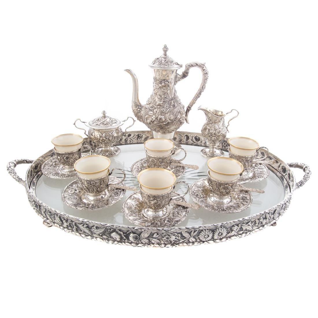 Kirk repousse sterling demitasse set with tray