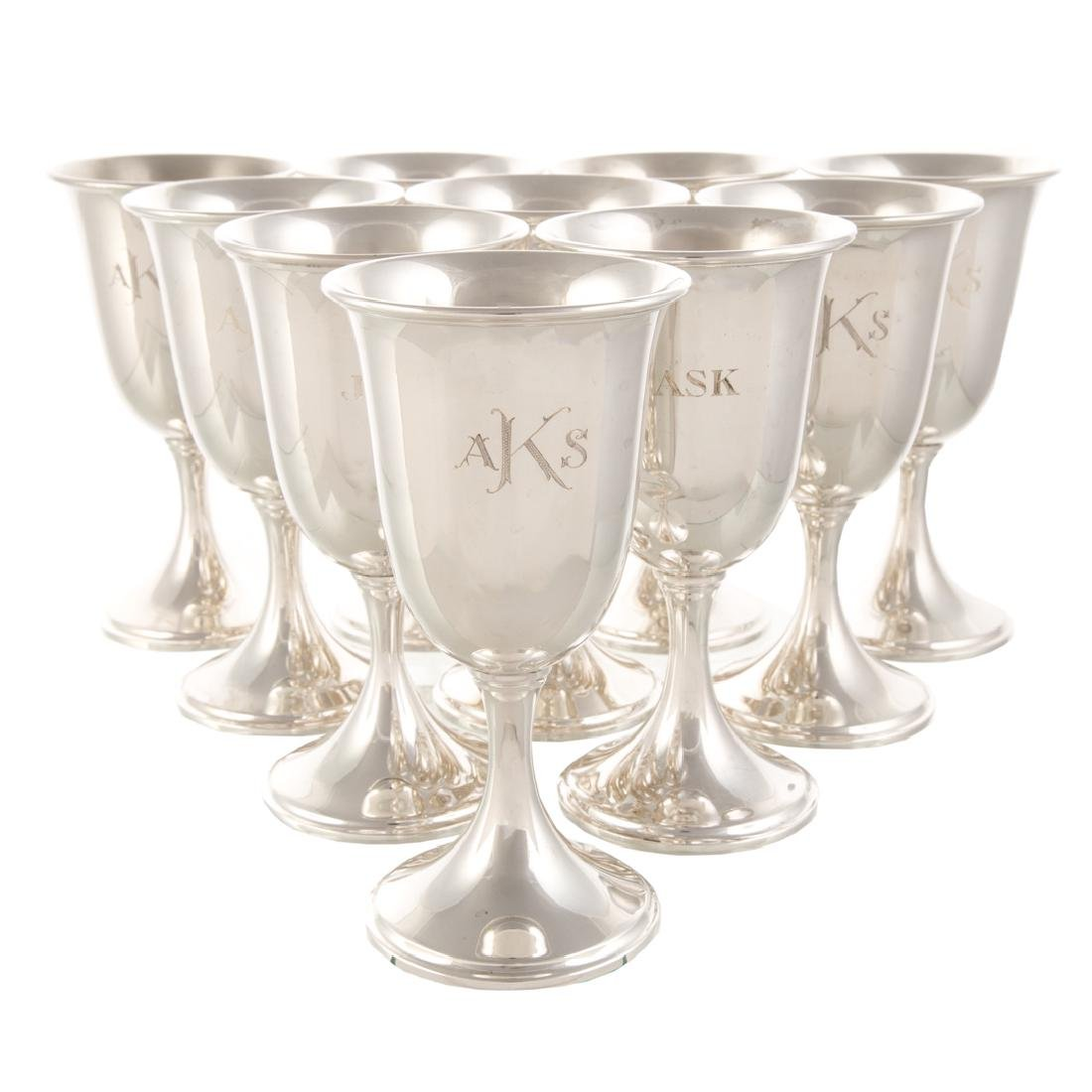 Set of 10 Kirk sterling silver goblets