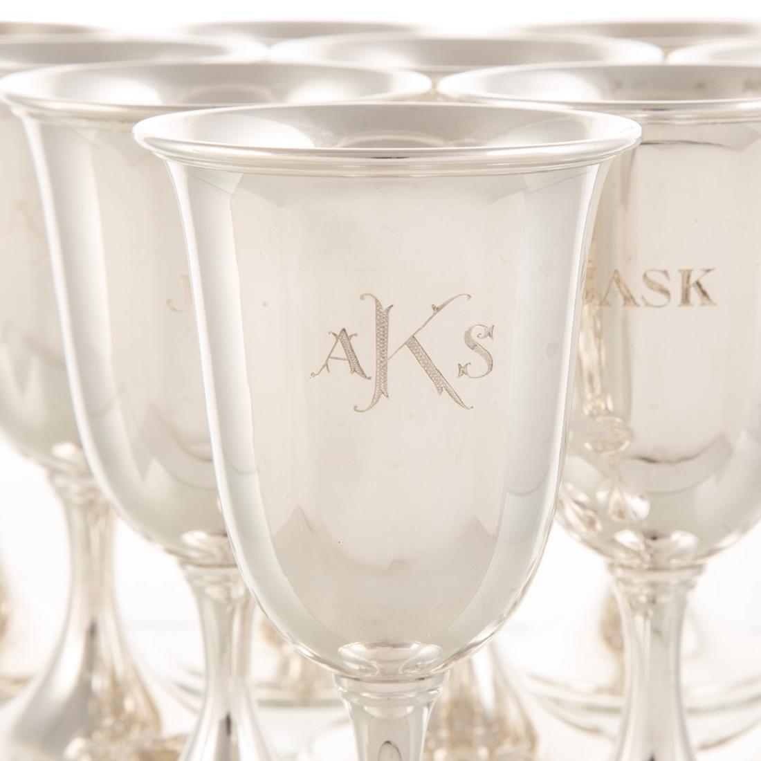 Set of 10 Kirk sterling silver goblets - 2