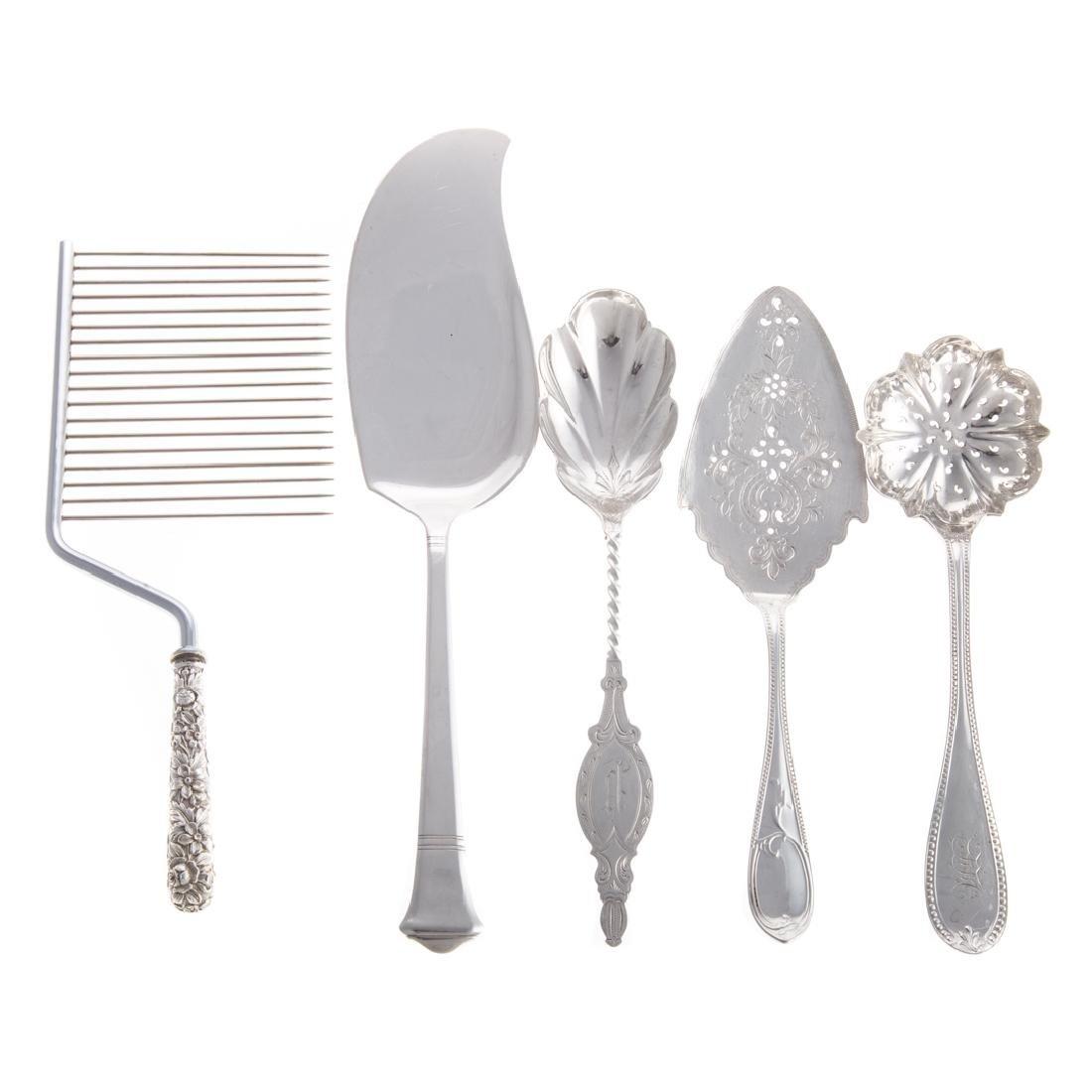 5 American silver serving pieces