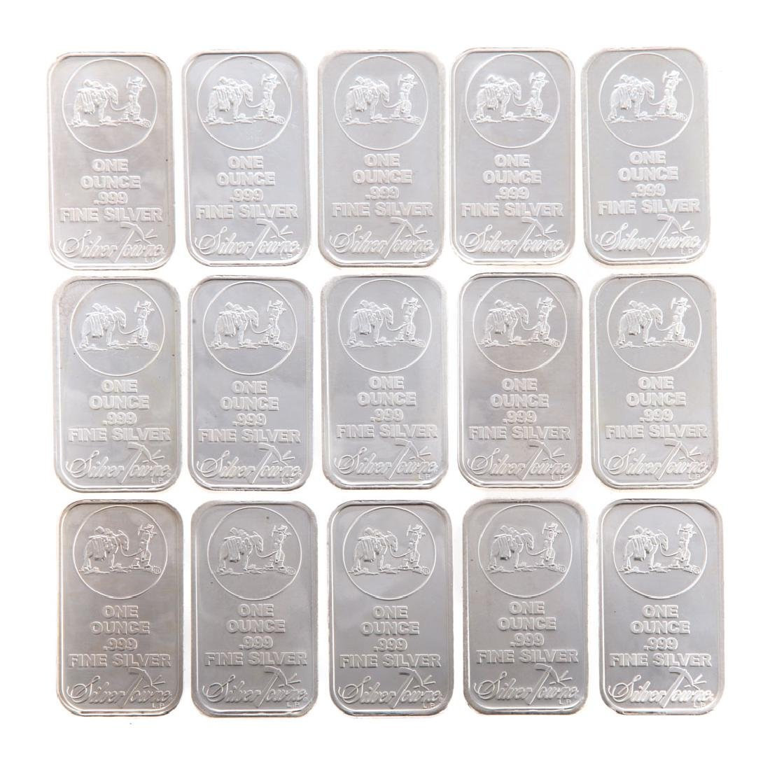 [US] Fifteen 1-Oz .999 Silver Bars by Silvertowne