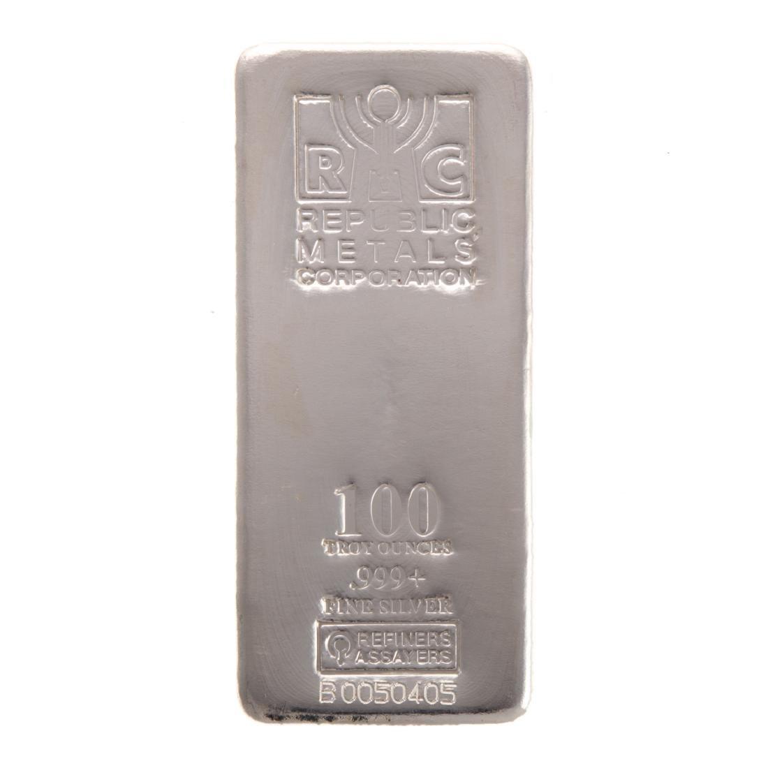 [US] 100 Oz .999+ Silver Bar by Republic Metals