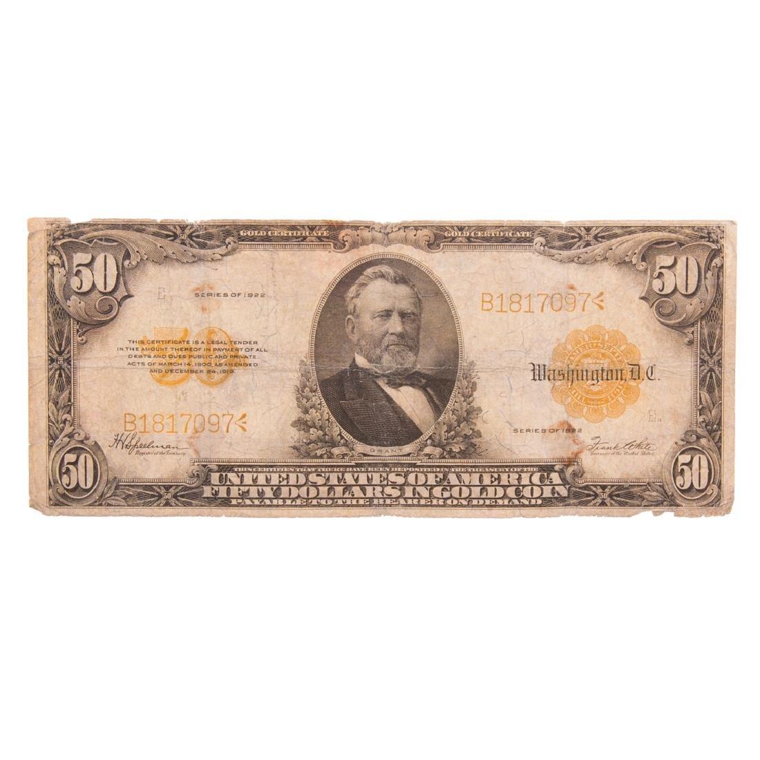 [US] 1922 $50 Gold Certificate FR-1200