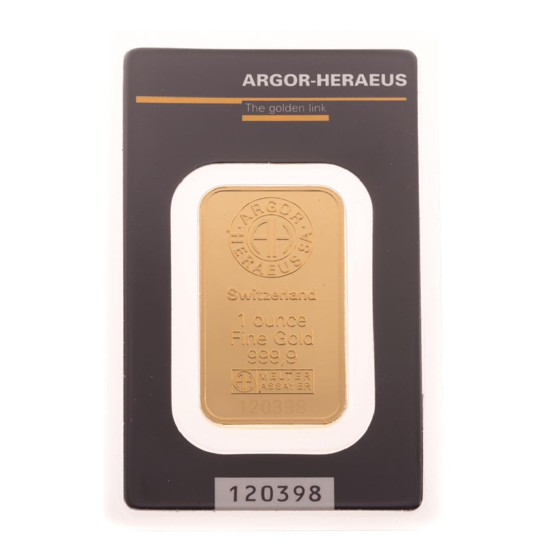 [US] 1 Ounce .999 Gold Bar by Argor-Heraeus