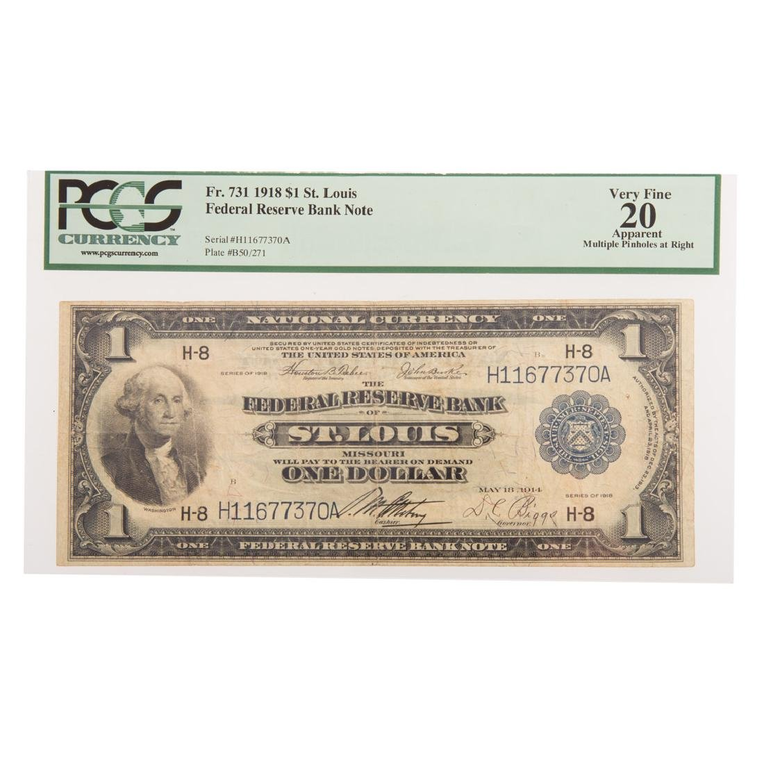 [US] 1918 $1 FRBN FR-731 PCGS-20 Apparent