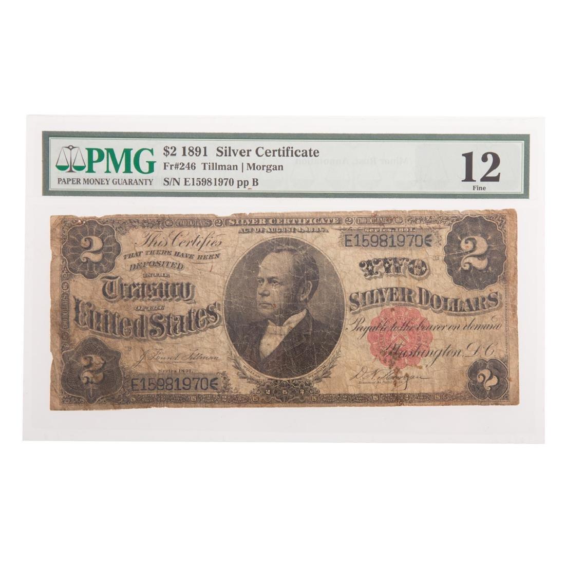 [US] 1891 $2 Silver Certificate FR-246 PMG-F12