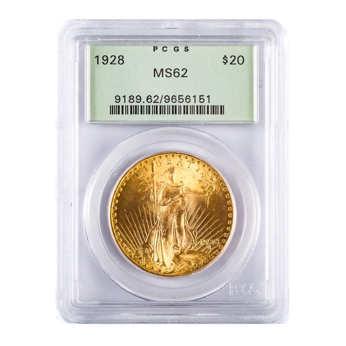 [US] 1928 $20 St. Gaudens PCGS MS62 OGH