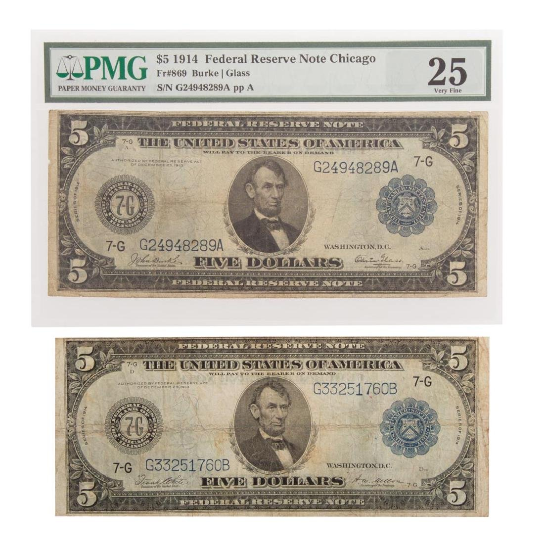 [US] Pair of $5 1914 Federal Reserve Notes