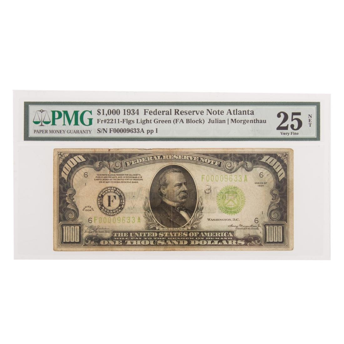 [US] 1934 $1000 Federal Reserve Note FR-2211 PMG25