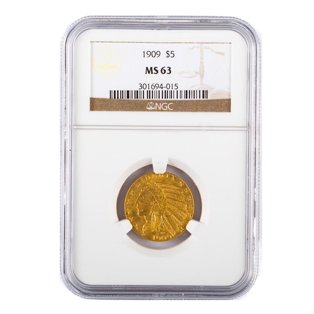 [US] 1909 $5 Gold Half Eagle NGC MS63