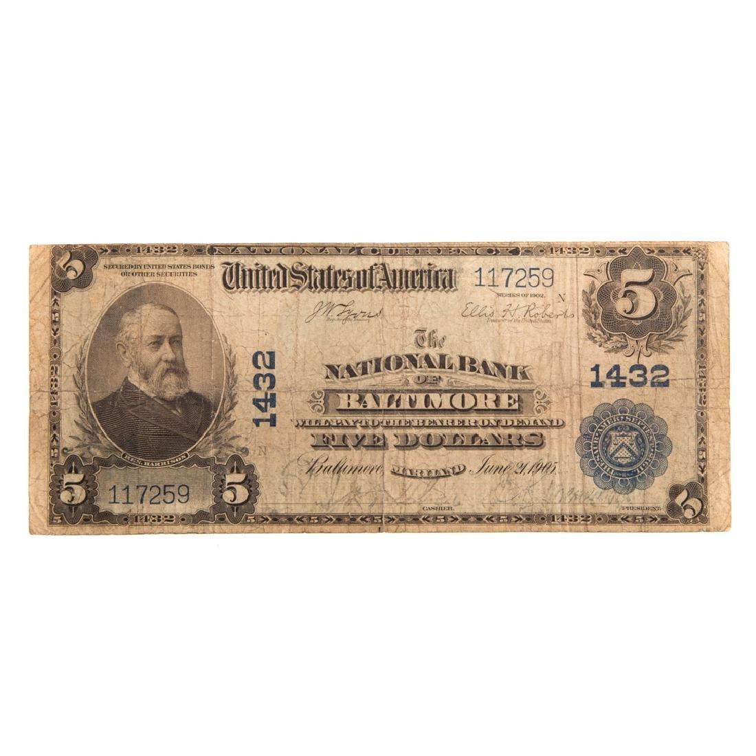 [US] 1902 $5 Plain Back Ch# 1432 FR-598 Baltimore