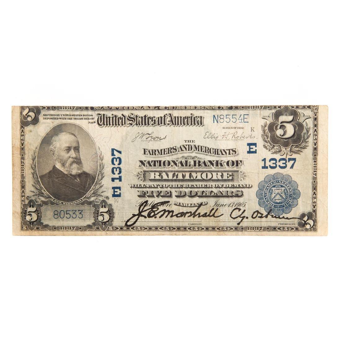 [US] 1902 $5 Plain Back Ch# 1337 FR-598 Baltimore