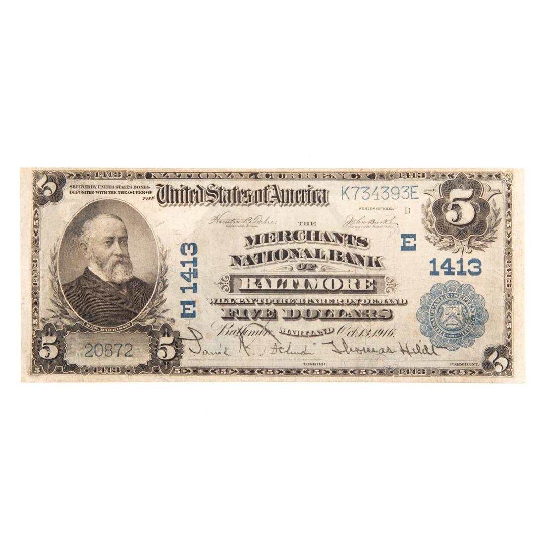 [US] 1902 $5 Plain Back Ch# 1413 Fr-606 Baltimore