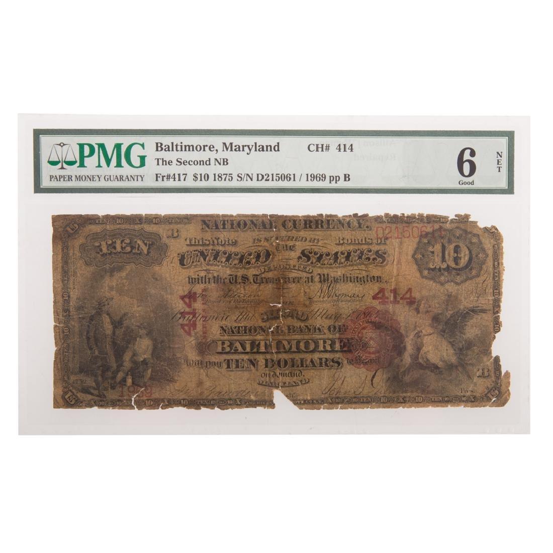 [US] 1875 $10 CH# 414 Fr-417 Baltimore PMG-6