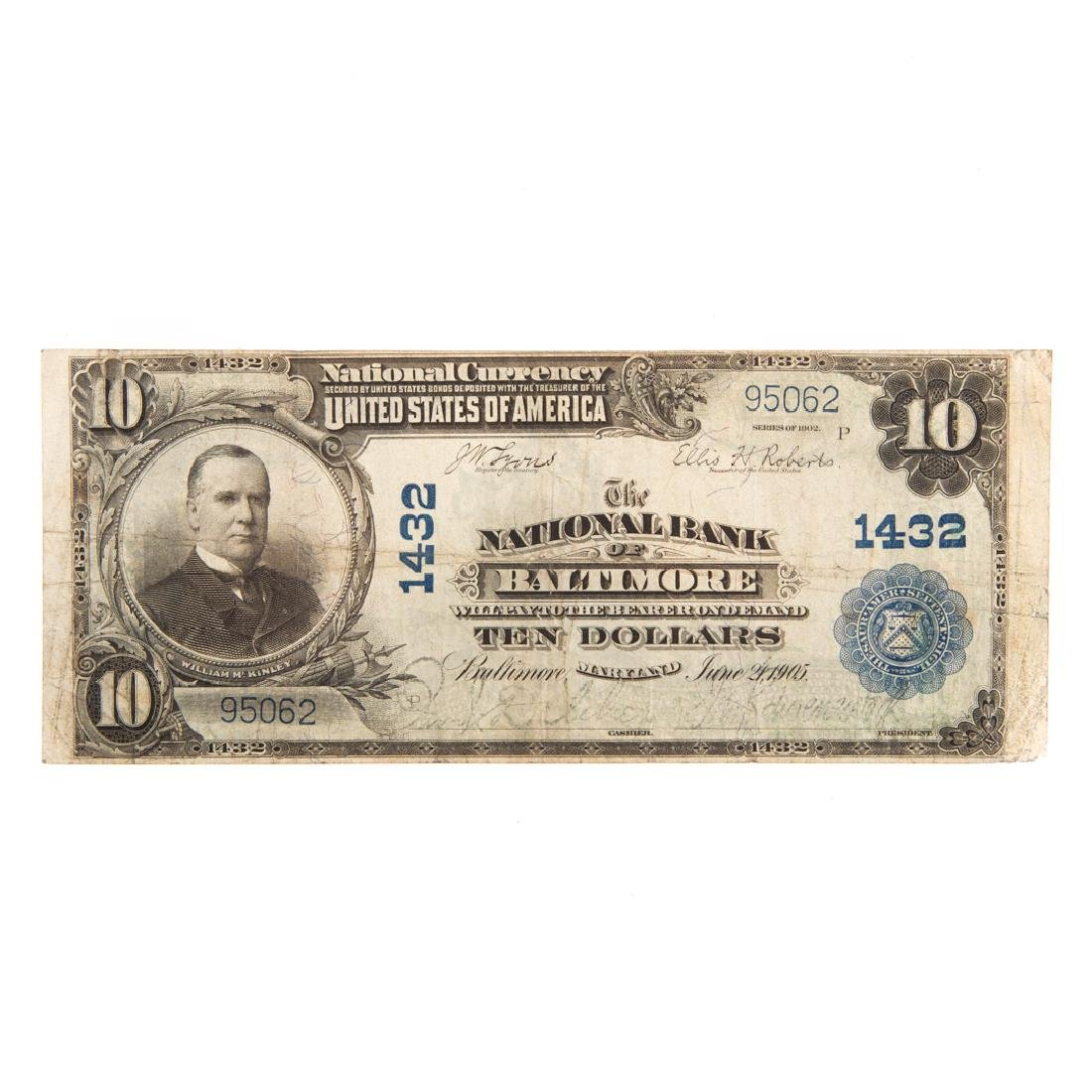 [US] 1902 $10 Plain Back CH#1432 Fr-624 Baltimore