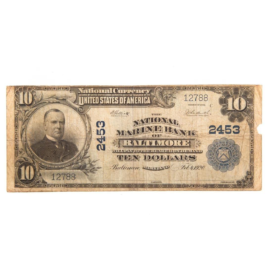[US] 1902 $10 Plain Back CH#2453 Fr-633 Baltimore
