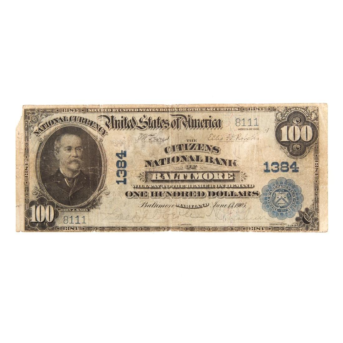[US] 1902 $100 Plain Back CH#1384 Fr-698 Baltimore