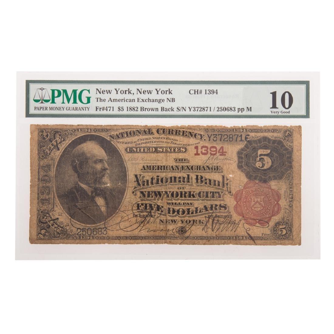 [US] $5 1882 Brown Back CH#1394 Fr-471 PMG VG-10