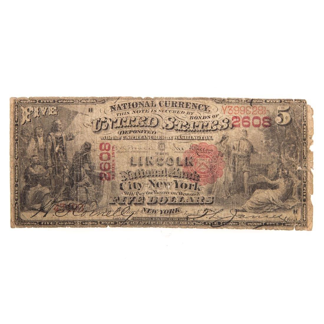 [US] $5 1875 CH#2608 Fr-405 G/VG