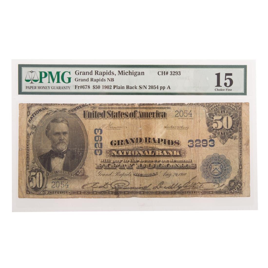 [US] $50 1902 Plain Back Ch# 3293 PMG Fine-15