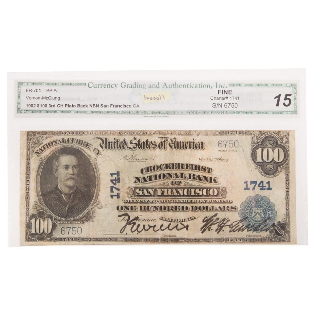 [US] $100 1902 Plain Back Ch#1741 Fr-701 CGA-F-15