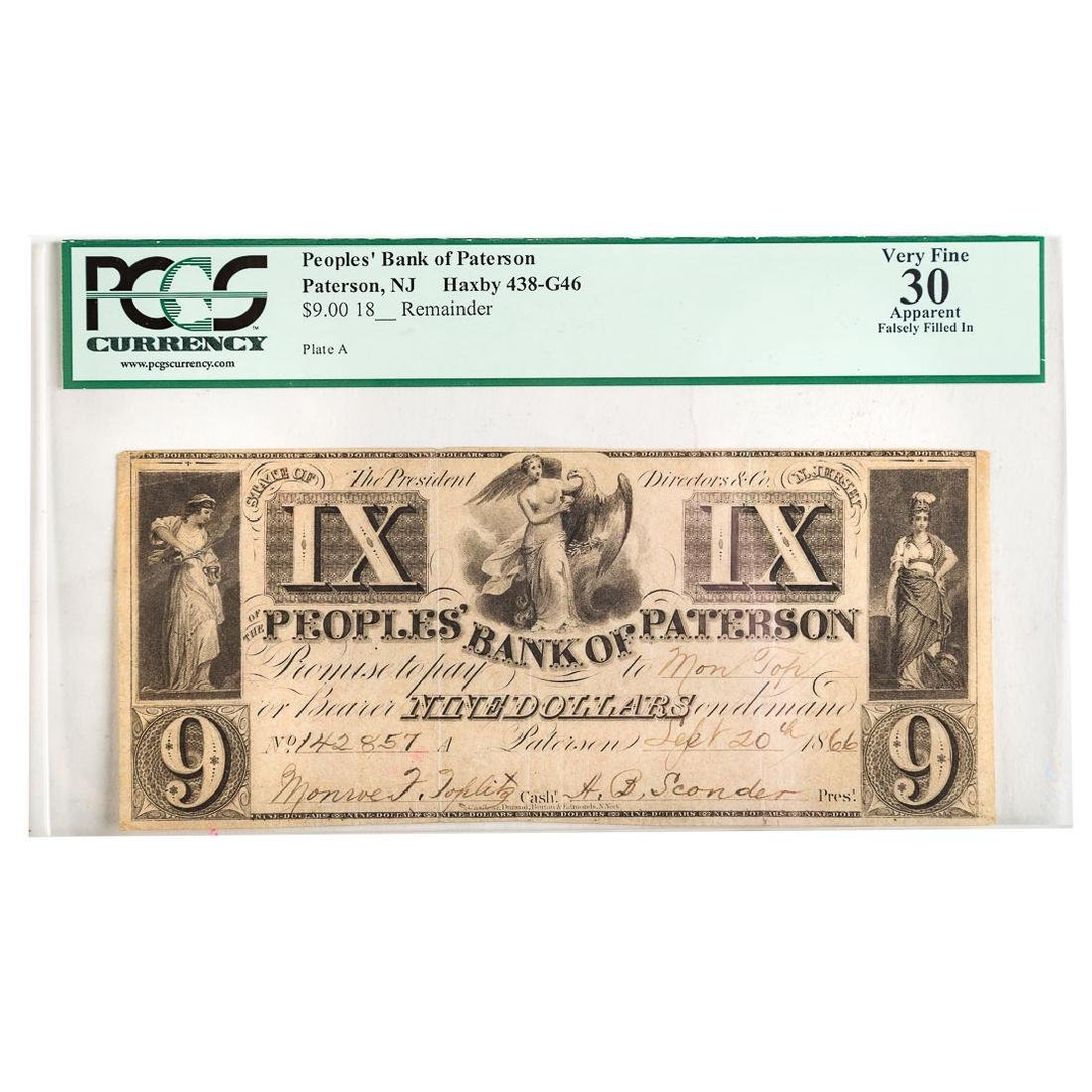 [US] Peoples' Bank of Paterson,NJ $9 PCGS-30