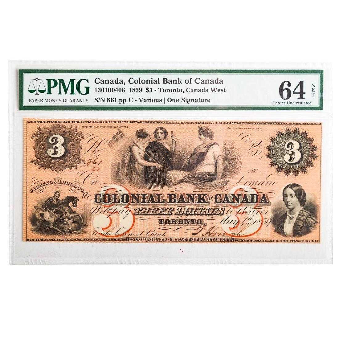 [Canada) $3 1859 PMG-64Net Colonial Bank Toronto