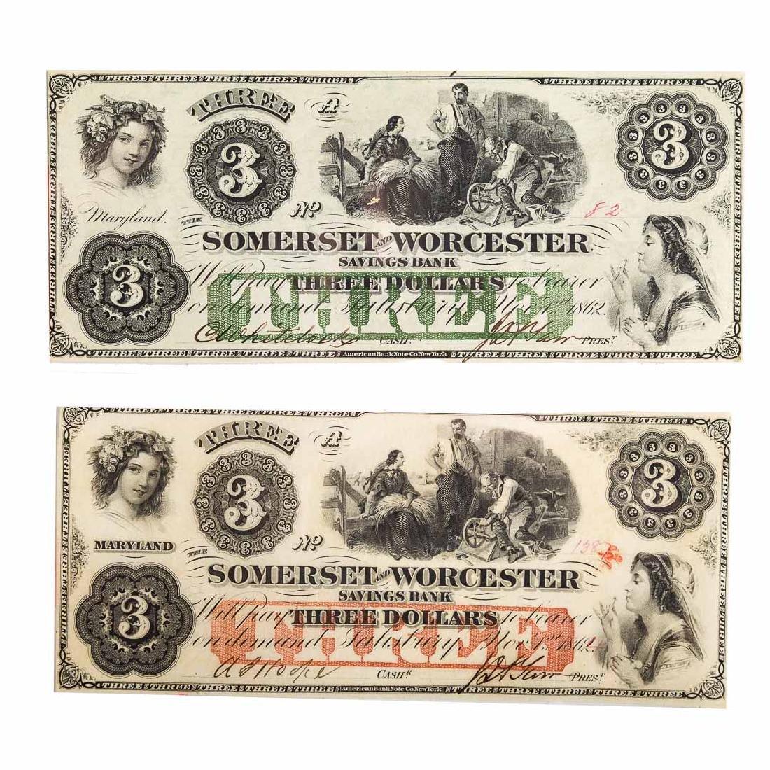 [US] Two $3 1862 Somerset & Worcester Higher Grade