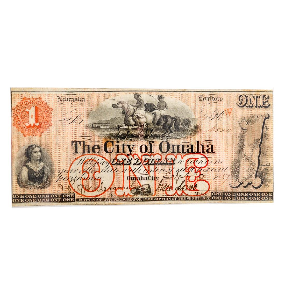 [US] 1857 $1 City of Omaha, Nebraska Territory AU+