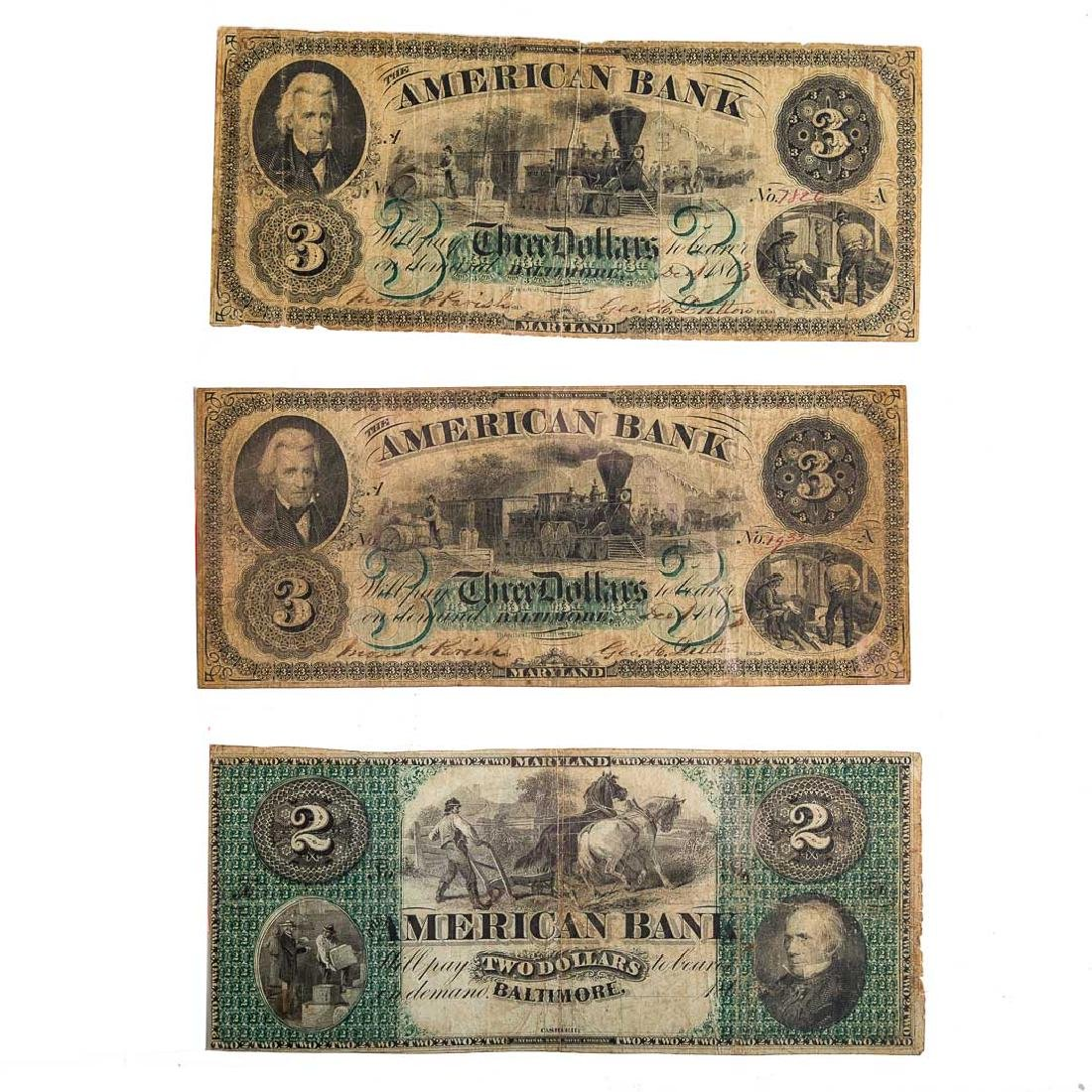 [US] Three notes from American Bank,Baltimore