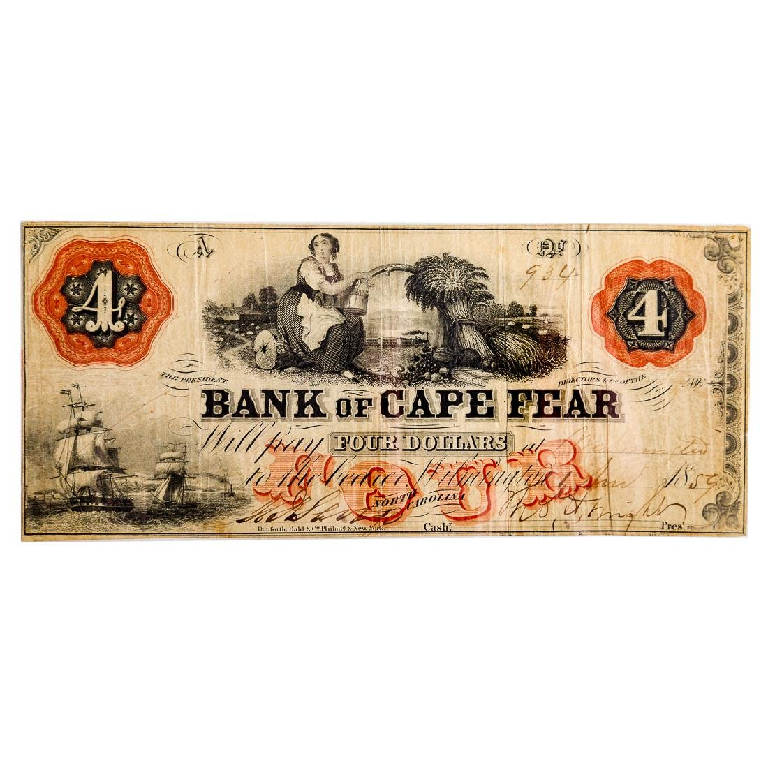 [US] $4 Bank of Cape Fear, 11/1/1859 Wilmington