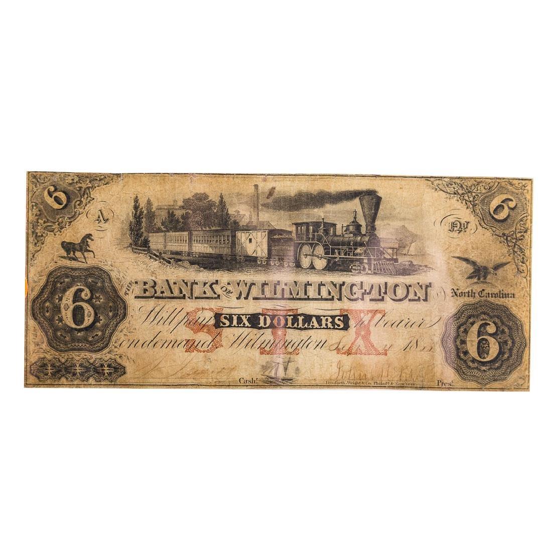 [US] $6 Bank of Wilmington,NC Sept 10 1855 Fine