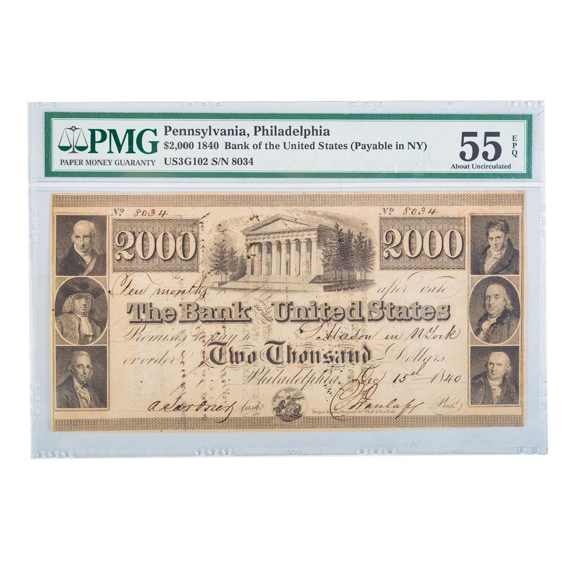 [US] $2000 1840 Bank of the United States PMG55EPQ