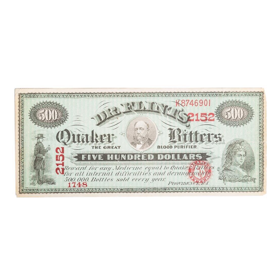 [US] Dr. Flint's Quaker Bitters $500 Advertising